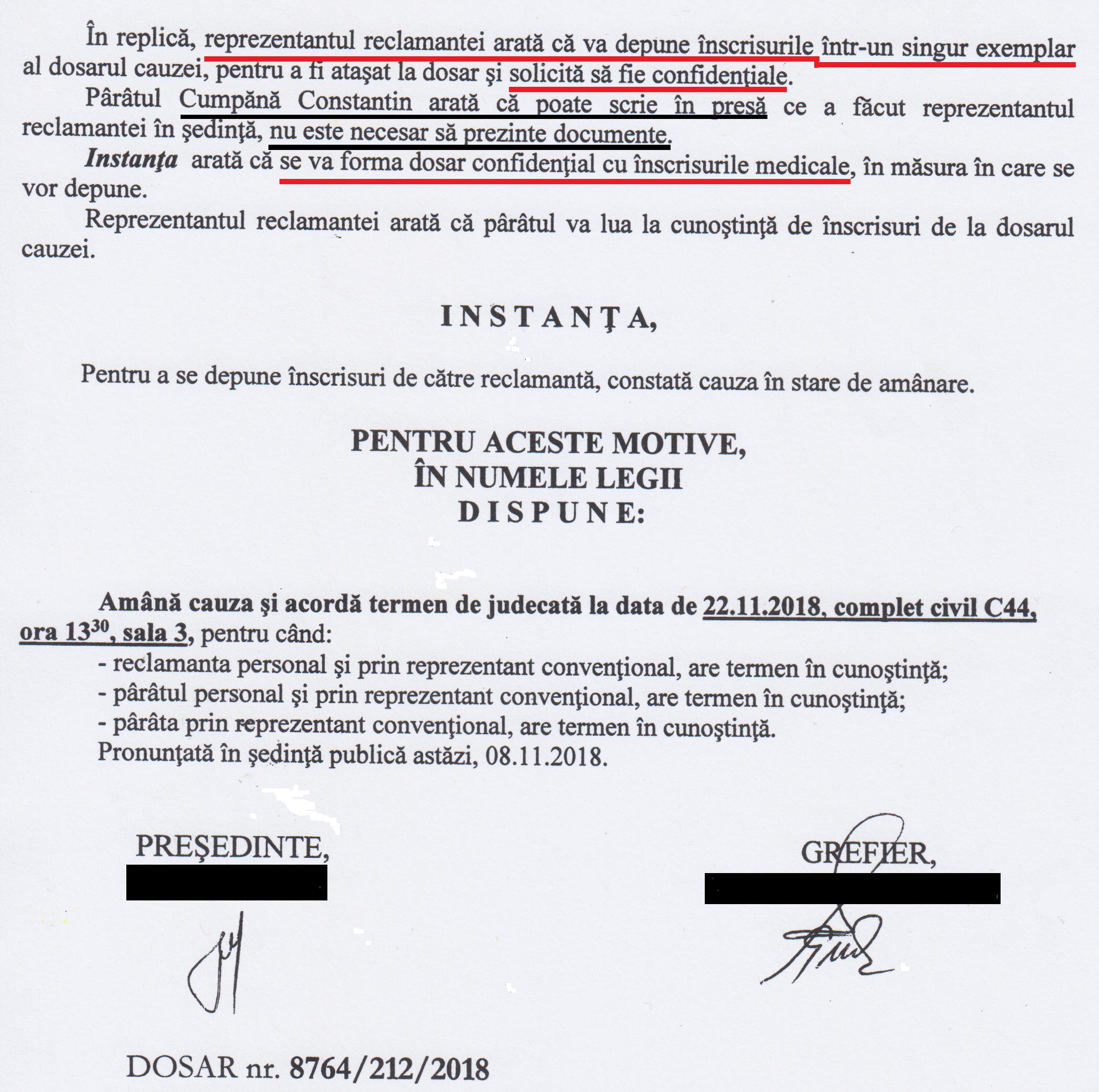 """În urma susținerilor martorei TUDORACHE MIHAELA, potrivit cărora articolele din REZISTENTA.ro i-au afectat starea fizică și emoționale a reclamantei, instanța a hotărât ca înscrisurile medicale să fie depuse într-un plic CONFIDENȚIAL. În cele din urmă s-a dovedit că niciunul dintre înscrisurile cuprinse în plicul """"Confidențial"""" din dosarul cauzei nu probează în vreun fel nici afirmațiile martorei și, implicit, nici starea pretinsă de reclamantă."""