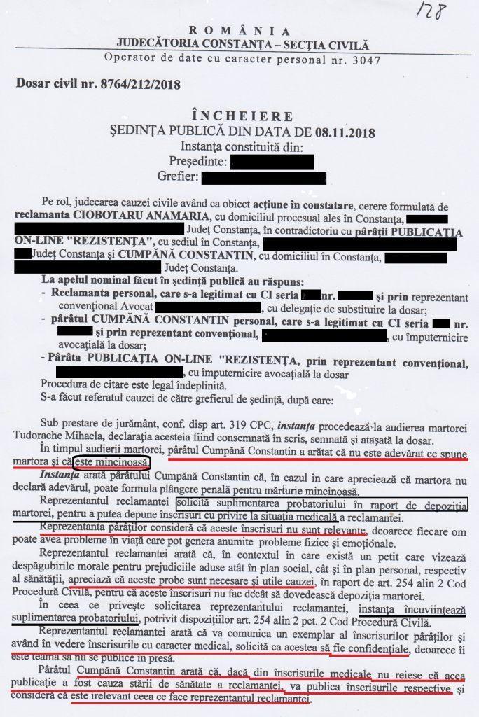 Încheiere - ȘEDINȚA PUBLICĂ din 08 noiembrie 2018, în care am arătat că martora TUDORACHE Mihaela este mincinoasă și că înscrisurile cu privire la situația medicală a reclamantei NU SUNT RELEVANTE!
