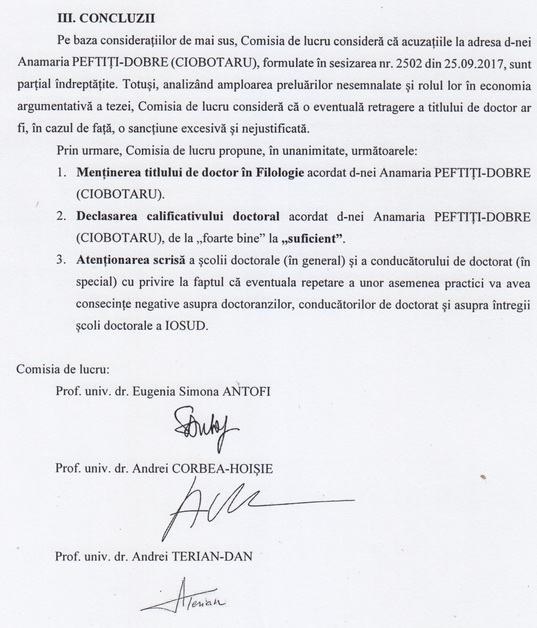 Concluziile Comisiei de lucru a C.N.A.T.D.C.U.