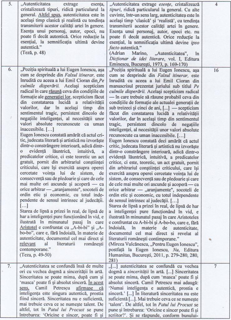 Pag. 4 din Raportul Comisiei de lucru cuprinde alte dovezi cu texter plagiate.