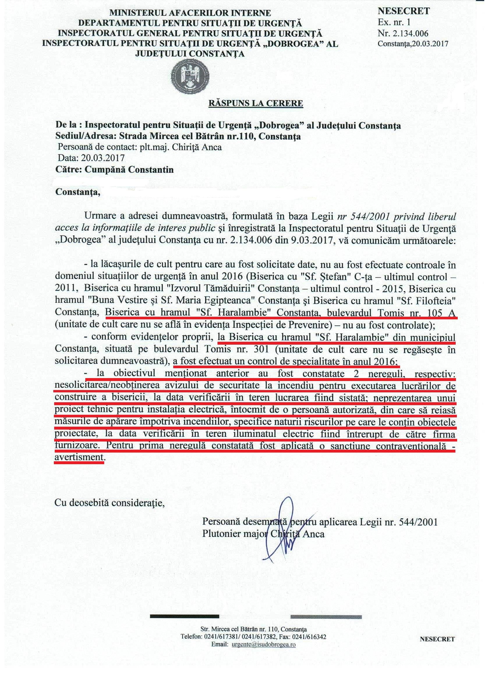 Adresa nr. 2.134.006 din 20.03.2017 a I.S.U. DOBROGEA către REZISTENTA.ro